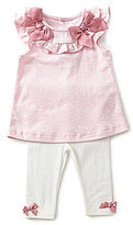 Starting Out Baby Girls Newborn-6 Months Star-Print Bow Top & Solid Leggings Set