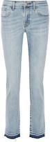 J Brand Amelia Frayed Mid-Rise Slim-Leg Jeans
