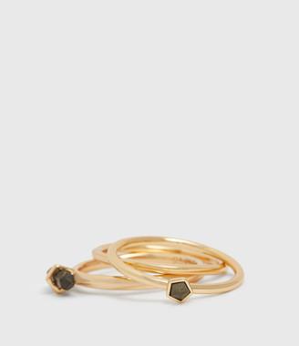 AllSaints Quin Gold Tone Semi-Precious Pyrite Three Ring Set