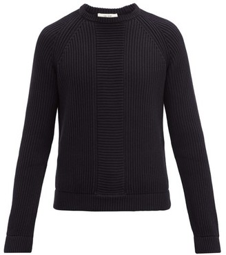 The Row Rory Rib-knitted Cotton Sweater - Navy