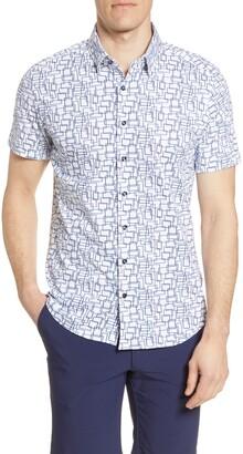Stone Rose Geo Print Short Sleeve Performance Knit Button-Up Shirt