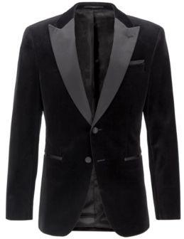 BOSS Slim-fit jacket with silk peak lapels