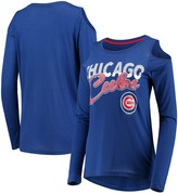 Women's G-III 4Her by Carl Banks Royal Chicago Cubs Crackerjack Cold Shoulder Long Sleeve T-Shirt