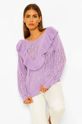 boohoo Petite Pointelle Ruffle Front sweater