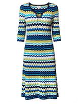 East Zig Zag Print Flared Dress, Multi