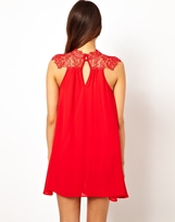TFNC Swing Dress With Lace High Neck