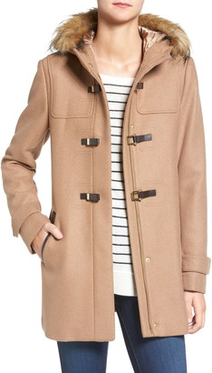 Cole Haan Wool Blend Faux Fur Trim Hooded Coat