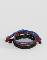 Asos Plaited Bracelet Pack In Blue And Red