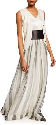 Brunello Cucinelli Cummerbund-Waist Chiffon Ball Gown