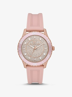Michael Kors Oversized Runway Dive Pave Rose Gold-Tone and Silicone Watch