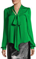 Milly Long-Sleeve Tie-Neck Stretch-Silk Blouse