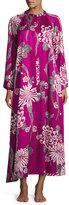 Natori Floral-Print Zip Caftan, Purple Pattern