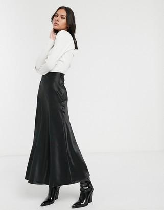 Monki midi satin skirt in black