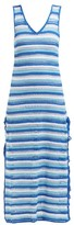 My Beachy Side - Striped Crochet-knit Cotton Midi Dress - Womens - Blue Stripe