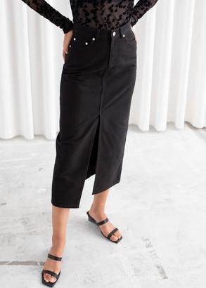And other stories Front Split Denim Midi Skirt