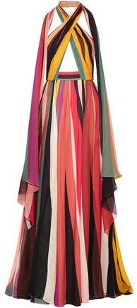 Elie Saab Striped Silk-Blend Georgette Halterneck Gown