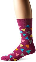 Happy Socks Men's 1pk Unisex Combed Cotton Crew-Purple Triangle