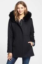 Sachi Petite Women's Genuine Fox Fur Trim Hooded Wool Blend Coat