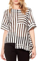 Gracia Striped Asymmetrical Top