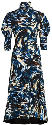 Proenza Schouler Exaggerated-Sleeve Printed Midi Dress