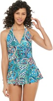 Chaps Women's Paisley Halter Tummy Slimmer One-Piece Swimdress