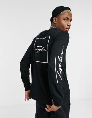 Topman long sleeve t-shirt with back embroidery in black