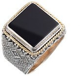 Konstantino Men's 'Minos' Square Etched Ring