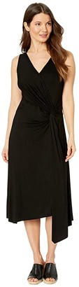 Karen Kane Asymmetric Wrap Dress (Black) Women's Dress