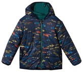 Paul Smith Navy Car Print Puffer Coat Reversible into Green