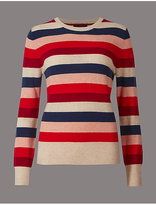 Autograph Pure Cashmere Striped Round Neck Jumper