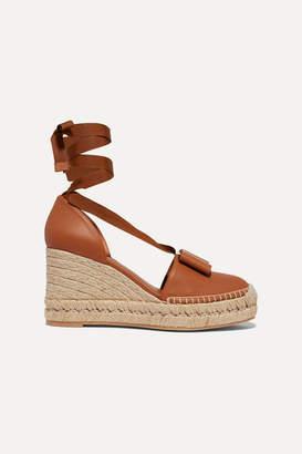 Salvatore Ferragamo Geranio Bow-embellished Leather Wedge Espadrilles - Tan