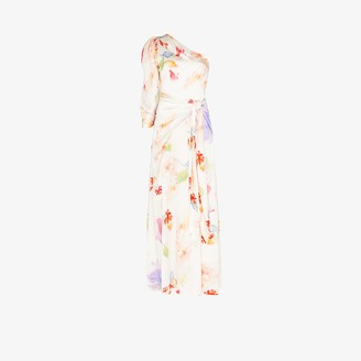 Peter Pilotto Floral Print Draped Silk Gown