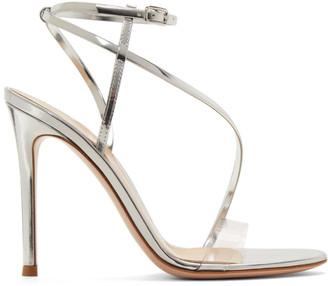 Gianvito Rossi Silver Patent Plexi Band Sandals