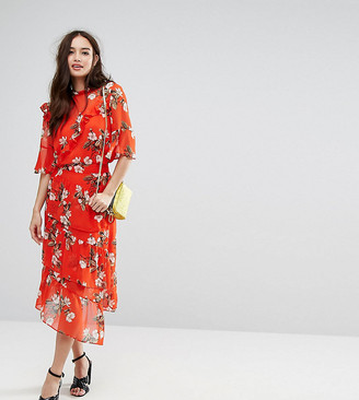 Miss Selfridge midi skirt with tiered ruffles in red floral print-Black
