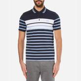BOSS GREEN Men's Paule 3 Striped Polo Shirt Navy