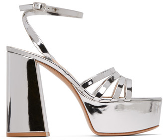Gianvito Rossi Silver Angelica Heeled Sandals
