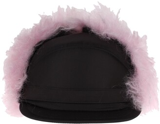 Prada Fur Trim Flap Cap