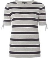 Dorothy Perkins Womens Grey And Navy Stripe Knitted T-Shirt- Grey