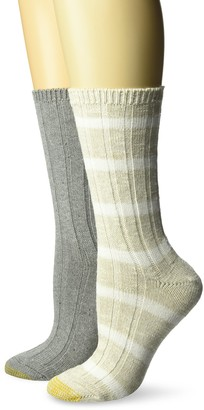 Gold Toe Women's Color Striped Crew Socks 2 Pairs