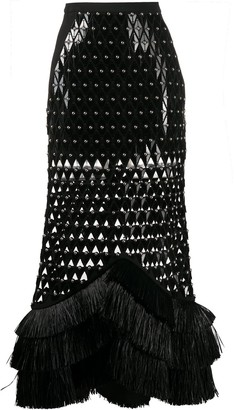 David Koma Laser-Cut Studded Skirt