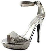 Caparros Tasha Women Open Toe Synthetic Silver Platform Heel.