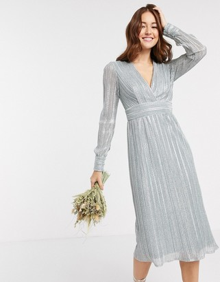 TFNC bridesmaid long sleeve pleated midi dress in blue metallic