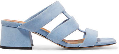Ganni Olive Suede Mules - Light blue