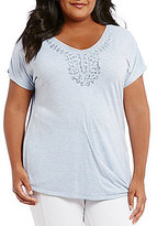 Peter Nygard Plus Sequins Twist Front Tee
