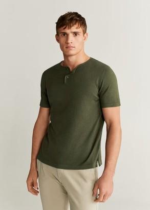 MANGO MAN - Henley cotton T-shirt khaki - XXL - Men
