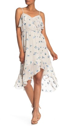 Nanette Lepore Floral Embroidered Faux Wrap High/Low Dress