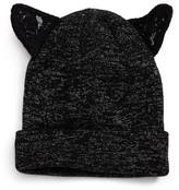 David & Young Women's Lace Cat Ear Beanie - Black