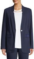 Joan Vass Snap-Front Long-Sleeve Boyfriend Blazer with Pockets
