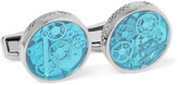 Tateossian Industrial Gear Rhodium-Plated and Enamel Cufflinks