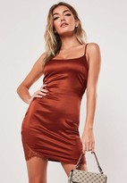 Missguided Rust Stretch Satin Lace Side Bodycon Mini Dress